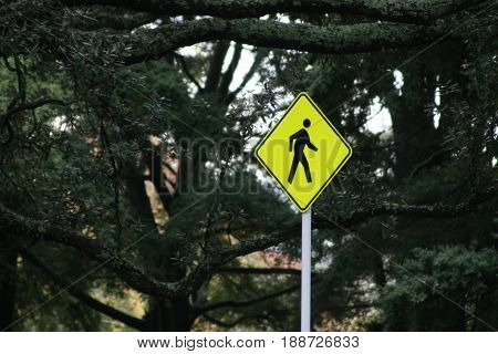 Pedestrian sign warning traffic to drive slowly and on the lookout for people walking.
