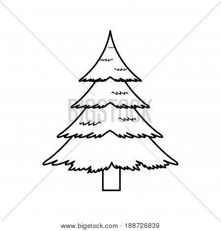 christmas pine tree decoration celebration, outline image vector illustration