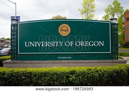 EUGENE, OR - MAY 17, 2017: Main sign along Franklin Blvd at the University of Oregon in Eugene.