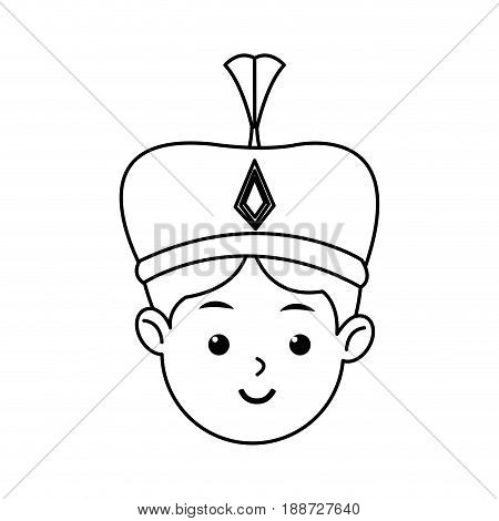manger cartoon wise king christmas celebration, outline image vector illustration