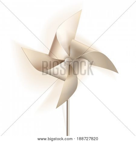 Pinwheel. Toy windmill propeller from white paper. The raster version.