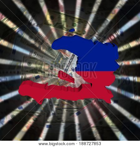 Haiti map flag on currency burst 3d illustration