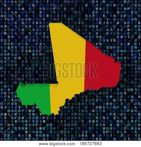 Mali map flag on hex code 3d illustration