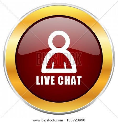 Live chat red web icon with golden border isolated on white background. Round glossy button.