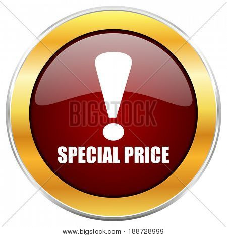 Special price red web icon with golden border isolated on white background. Round glossy button.