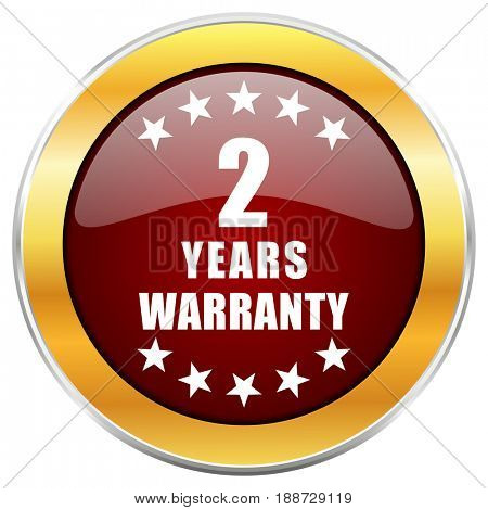 Warranty guarantee 2 year red web icon with golden border isolated on white background. Round glossy button.