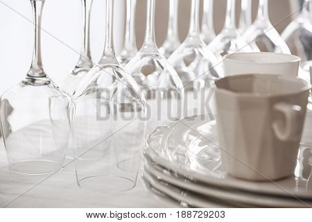 Set of dishware on table, closeup