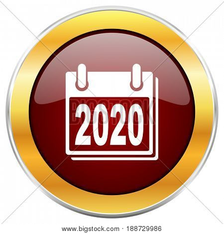 New year 2020 red web icon with golden border isolated on white background. Round glossy button.
