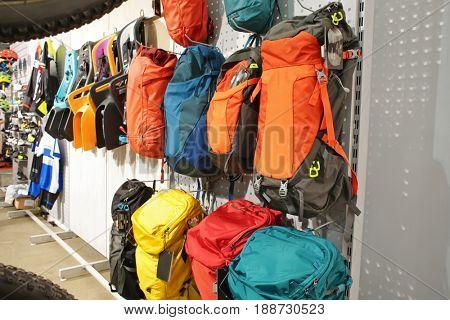 Backpacks on bicycle exhibition in showroom