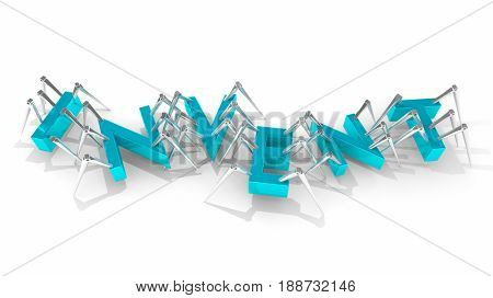 Invent Robots Letters Spiders Crawling Invention Word 3d Illustration