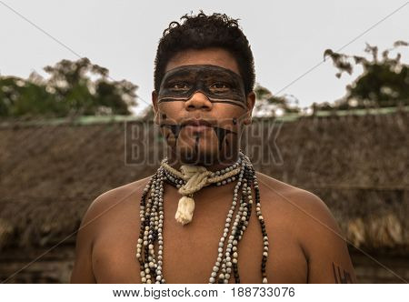 Native Brazilian man from Tupi Guarani Tribe in Brazil