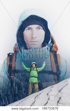 Double exposure effect photography. Hiker man in snowy winter mountain.