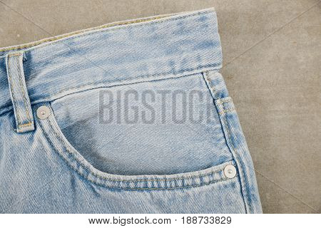 Front view blue jeans, detail