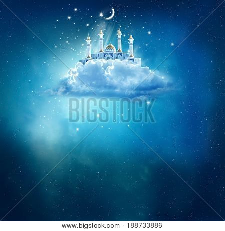 Islamic greeting  Eid Mubarak cards for Muslim Holidays.Eid-Ul-Adha festival celebration . Ramadan Kareem background with mosque in sky