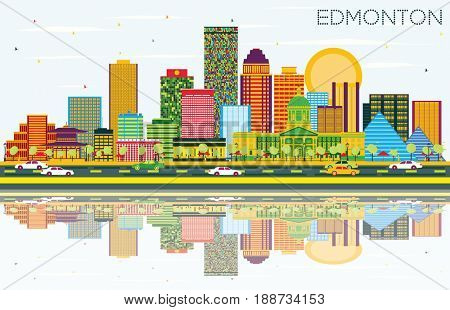Edmonton Skyline with Color Buildings, Blue Sky and Reflections. Business Travel and Tourism Concept with Modern Buildings. Image for Presentation Banner Placard and Web Site.