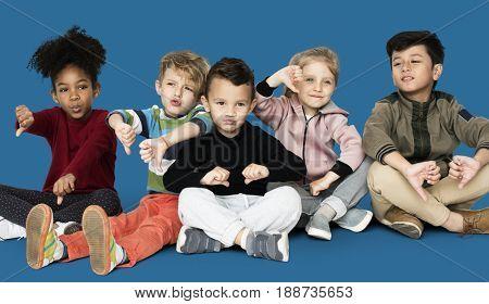 Little Children Gathering Together Smiling Happy