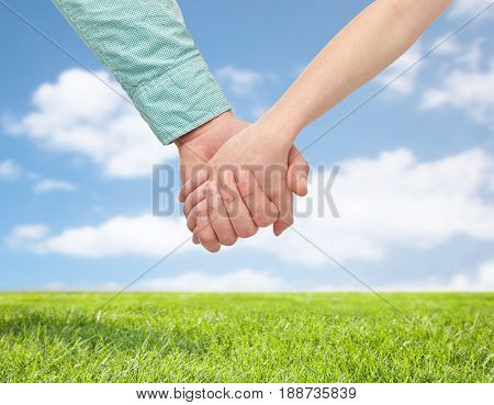 family and people concept - happy father and child holding hands over blue sky and grass background