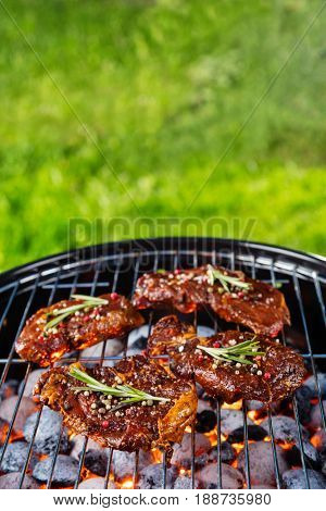 Beef steaks on the grill grate with fiery coals. Barbecue, grill and food concept. Blur grass for copyspace on background