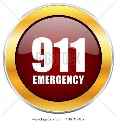 Number emergency 911 red web icon with golden border isolated on white background. Round glossy button.