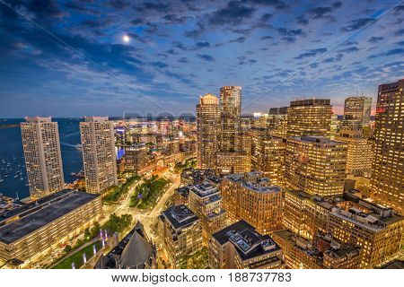 Boston, Massachusetts, USA financial district cityscape.