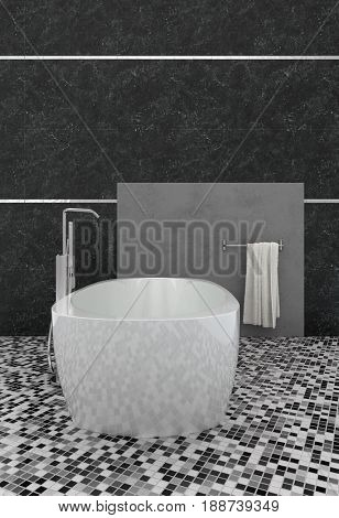 3d rendering of a modern bathroom interior with mosaic floor tiles forming a geometric pattern with a freestanding bathtub and dark grey walls
