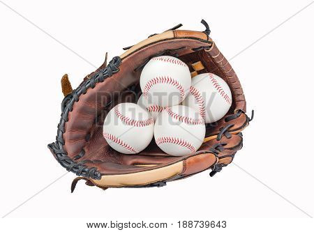 Baseball Glove with Four Baseballs isolated on white background.