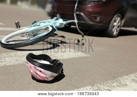 Helmet lying on zebra crossing near accident place