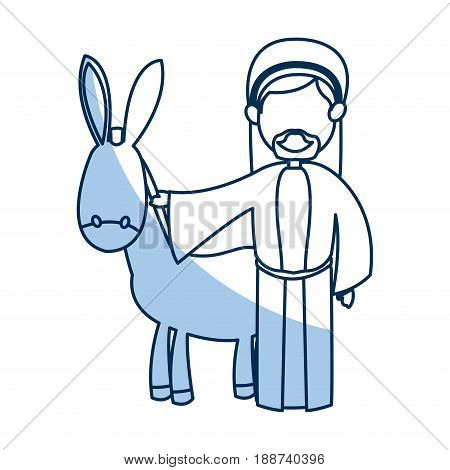 cartoon joseph and donkey together standing line image vector illustration