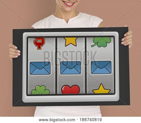 Slot Machine Cloud Envelope Folder Battery