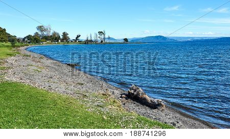 On the shores of Lake Taupo in New Zealand