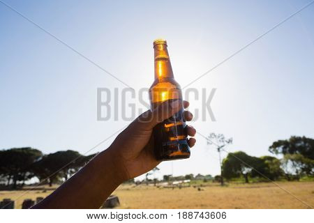 Hand of man holding a beer bottle in the park on a sunny day