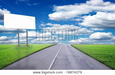 blank billboard in the beautiful landscape, appropriate for your ady