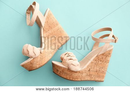 Pair of beautiful shoes on color background