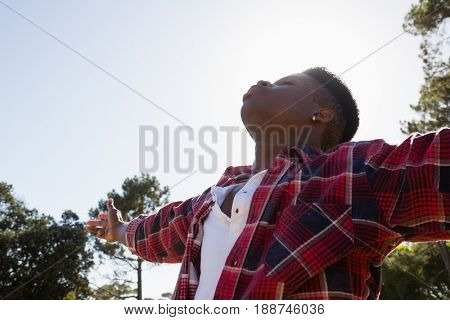 Blissful man standing with arms outstretched in the park