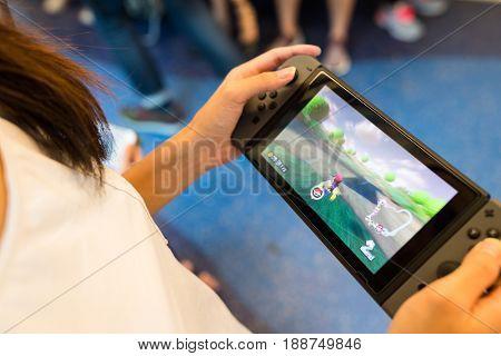 Hong Kong, 19 May 2017 -:Playing mario kart 8 on Nintendo Switch