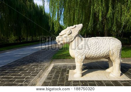 Statue of a Standing Qilin in The General Sacred Way of the Ming Tombs. It was built between 1435 and 1540. Shisanling, Beijing, China