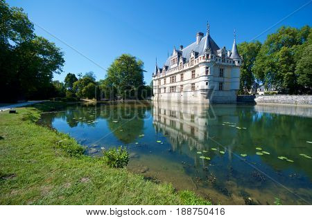 Castle of Azay le Rideau, Loire Valley, France. Built in the 16th century, on an island in the Indre River, is a magnificent example of French Renaissance architecture.