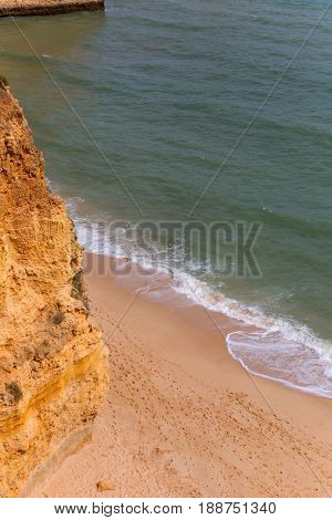 the famous beach of Praia da Marinha in Lagoa. This beach is a part of famous tourist region of Algarve.