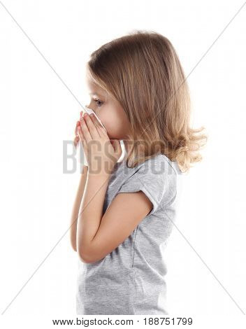 Small ill girl with napkin, isolated on white