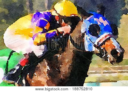 beautiful Watercolor painting of a Race Horse and jockey