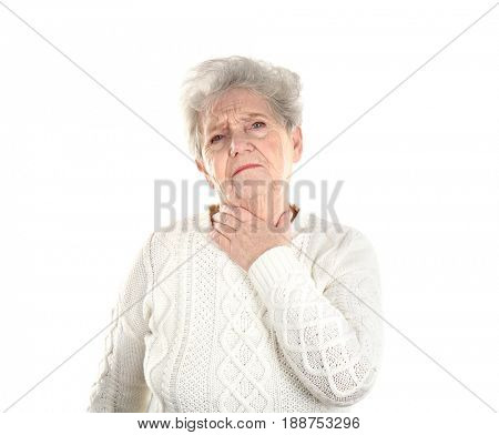 Senior ill woman with sore throat, isolated on white. Concept of allergy