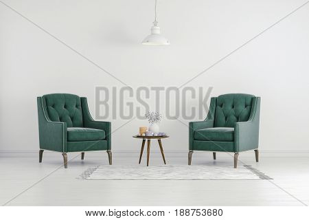 3d clean interior room with green chair and white wall