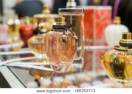 Perfume bottle on showcase in shop