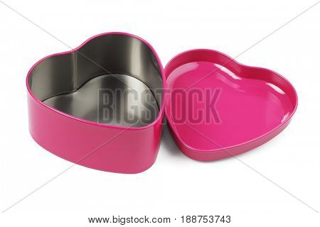 Open Heart Shaped Metal Container on White Background