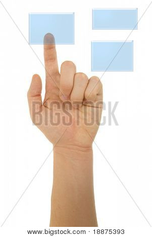 photo of pointing finger with clipping paths poster