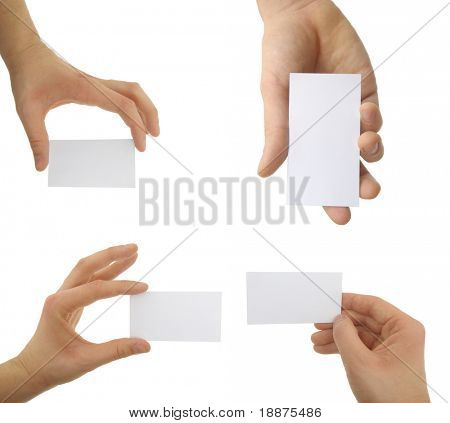 Hands holding blank business cards with clipping path