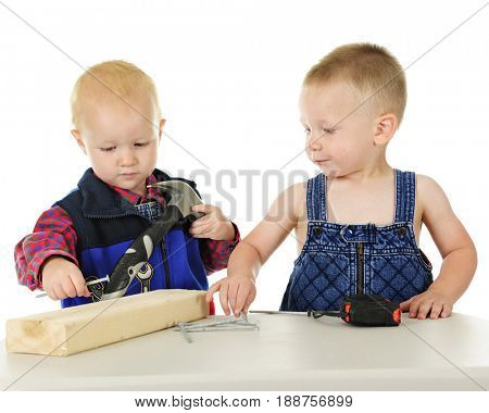 Two toddler boys pretending to be handyman with their toy hammer, long nails, a blocks of wood and tape measurer.  On a white background.
