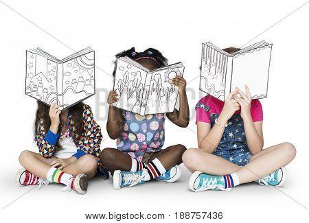 Little Children Reading Story Books