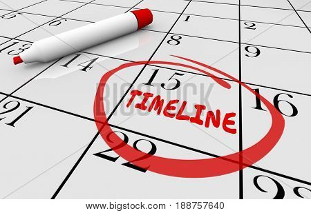 Timeline Calendar Days Dates Schedule 3d Illustration