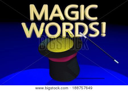 Magic Words Command Magician Hat Wand 3d Illustration